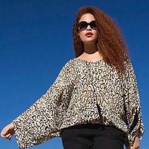 Lane Bryant Leopard Blouse Drama Plus 26 / 28